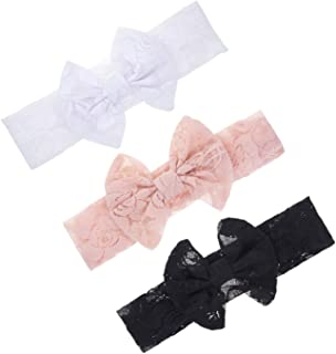 Lace Bow Headband Turban for Baby Girls Lace Beanie Cap Baby Lace Bowknot Hat JBC18
