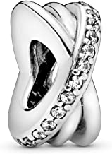 Pandora Jewelry - Sparkling and Polished Lines Spacer Charm in Sterling Silver with Clear Cubic Zirconia