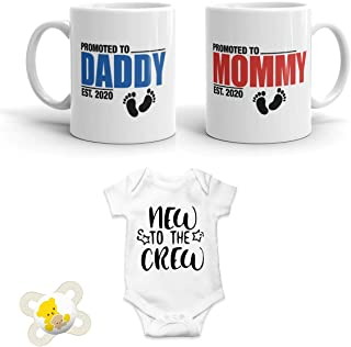 2020 EST New Parent Gifts - Promoted to Mommy and Daddy 2020 11 oz Mug Set with