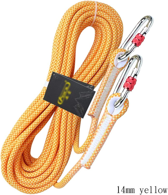 クライミングハーネス 高強度ポリエステル製空の作業用ロープ、黄色のエアコン専用工具安全ロープ、厚さ14mmの耐摩耗性安全ロープ、耐光性の非吸水性ラペリングロープ (Color : 14mm-50m)