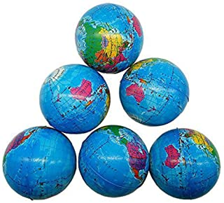 Sohapy 2.48'' Mini Squeezable Globe Stress Balls,Tension Reliver Balls,Party Favor,Soft PU Globe Ball,Earth Pattern,Party ...