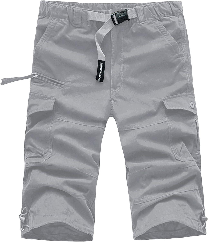 Men's Twill Cargo Short Summer Casual Relax Fit Cotton Short Pants Multi-Pocket Knee Length Tactical Shorts - Limsea