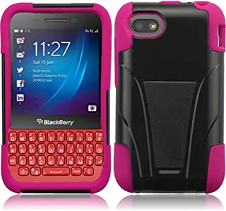 Blackberry Q5 (AT&T), LF Hybrid Dual Layer Case with Stand, Lf Stylus Pen & Wiper Accessory (Stand Pink)