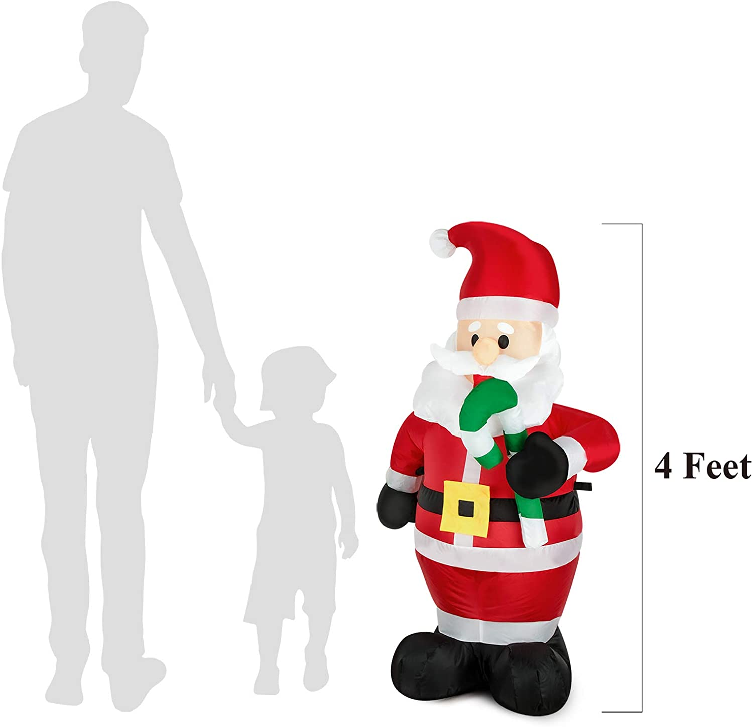 4FT-Santa FARONZE Christmas Inflatable Nutcracker Giant Lighted Interior//Airblown Inflatable Christmas Decoration with Built in Fan and Anchor Ropes