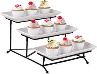 3 Tier Serving Stand,HabiLife Collapsible Sturdier Rack with 3 Porcelain Cake Serving Tray for Fruit Dessert Party Food Server Display