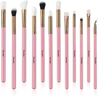 Yuwaku Eye Makeup Brushes Set, Premium Synthetic Pink Eye Shadow Brushes for Blending Concealer Contour Soft Make Up Brush