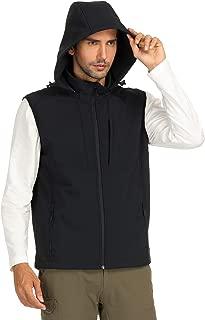 Men's Fleece Lined Softshell Vest Hooded Front-Zip Travel Vest with 8 Pockets, Lightweight, Windproof and Water Resistant, Black