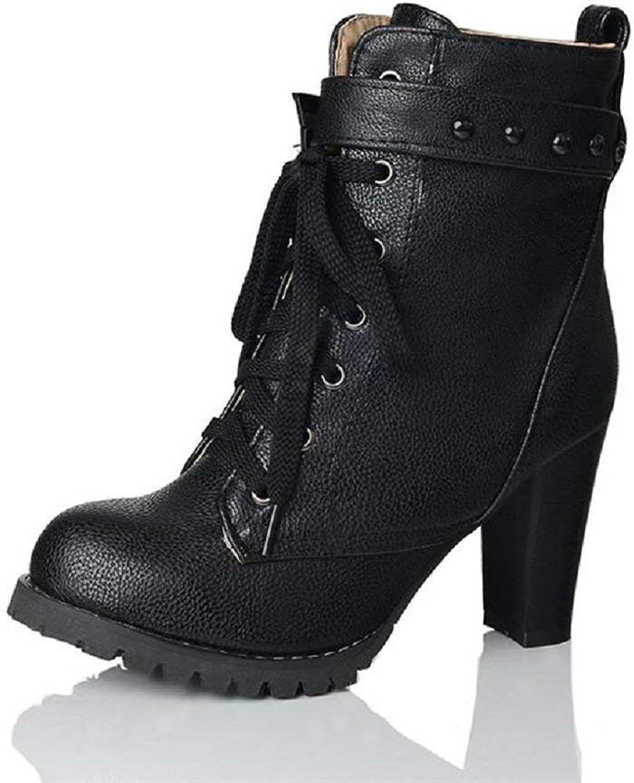 Wallhewb Women High Heel Chukka Boots Black Joker Ladies No Gridding Feet Dress Rubber Sole Girls Easy to Match Skinny Around Ankle Black 8 M US Boots