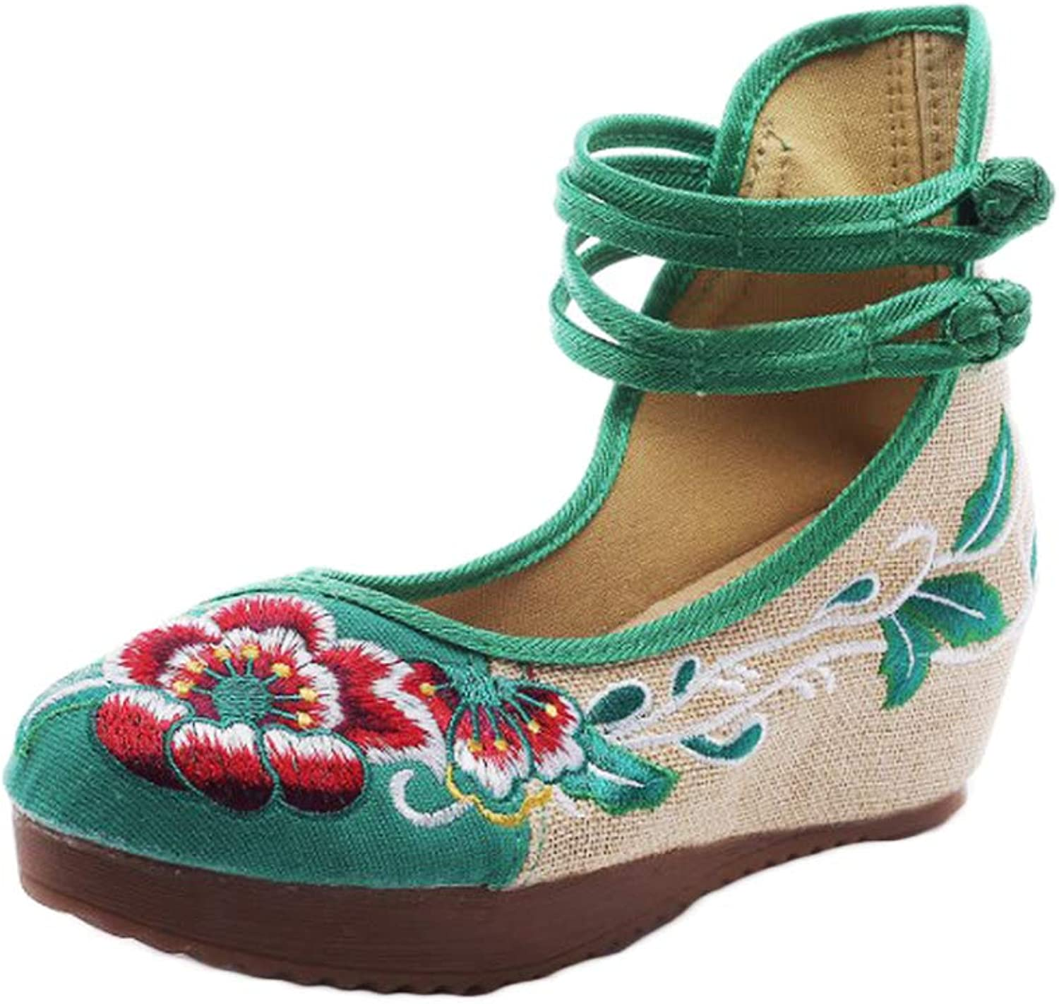 AvaCostume Women's Embroidery Floral Strappy Round Toe Platform Wedges