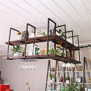 ZHTY Grand Organisateur en métal Porte-Verres à Pied étagères flottantes en Bois étagère de décoration de Plafond avec Cro...