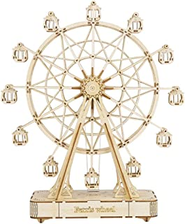Nobranded DIY Wooden Rotatable Ferris Wheel Model with Playing Music Toys for Children Birthday