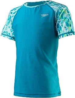 Speedo Girls' Rashguard-Short Sleeve Swim Shirt