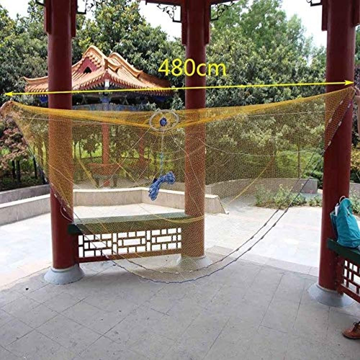 Lawaia Fly Fishing Net Saltwater Casting Nets 2ft Fishing Network Holder Monofilament Nylon Lead sinkers Fish Tools   Yellow 480cm