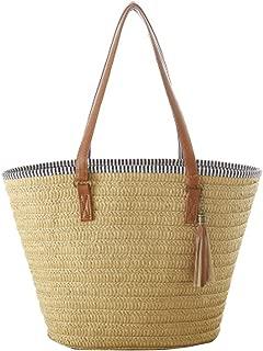 Straw Beach Bag, Summer Handbags Shoulder Bag Tote with Leather Handles Tassels Women Bag