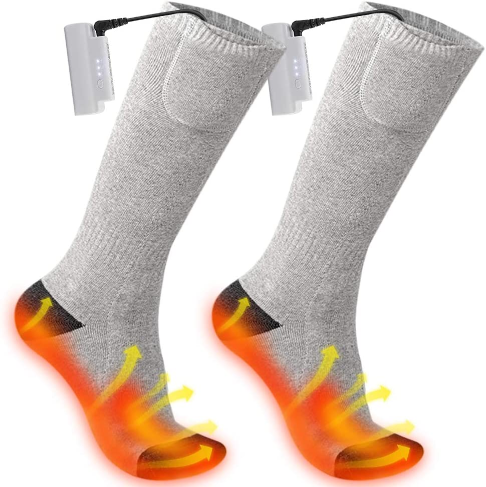 Upgraded Rechargeable Electric Socks 3 Levels Adjustable Heated Socks with 2200mAh Large Capacity Battery for 10 Hours Heating for Outdoor Sports Camping Fishing Skating Heated Socks for Men//Women