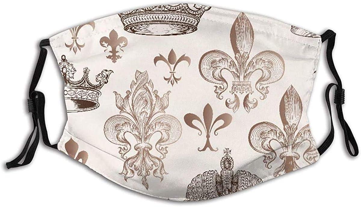 Free Shipping New Face Mask Virginia Beach Mall Fleur De Lis Crowns Engrave in Shapes and Fleur-de-Lis