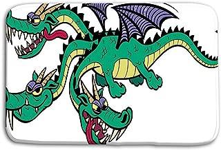 Jieifeosnnxz Doormat Indoor Outdoor Cartoon Dragon Three Headed Over White Background no Transparency Gradients Used mat