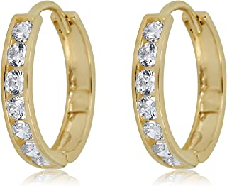 10K Gold Channel Set Simulated Diamond CZ Huggie Hoop Earrings in Yellow or White Gold