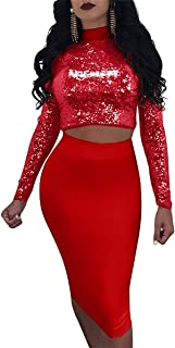 Rela Bota Women's Turtleneck Crop Top Skirt Set Lace up Bandage Bodycon Multi Wear Sequins 2 Piece Outfit Clubwear