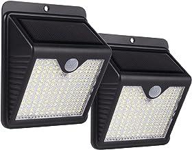 Pacote com 2 luzes solares para ambientes externos, 150 LEDs de energia solar PIR, sensor de movimento, luz de parede ao a...