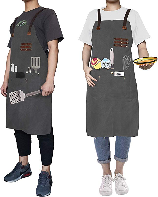 Work Apron Professional Commercial Kitchen Cooking Canvas Apron Waterproof Tool Apron Workshop Restaurant Bar Apron W Convenient Pockets Adjustable Stripe For Chef Waiters Artist Carpenter Painter BBQ Grey