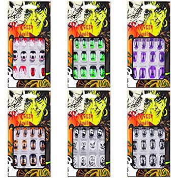 72 Pieces Halloween False Nails Artificial Fake Short Fingernails Nail Tips Kit Halloween Gothic Fake Nails with 6 Jelly Glue for Nail Art Salon DIY Decoration 12 Sizes in 6 Boxes