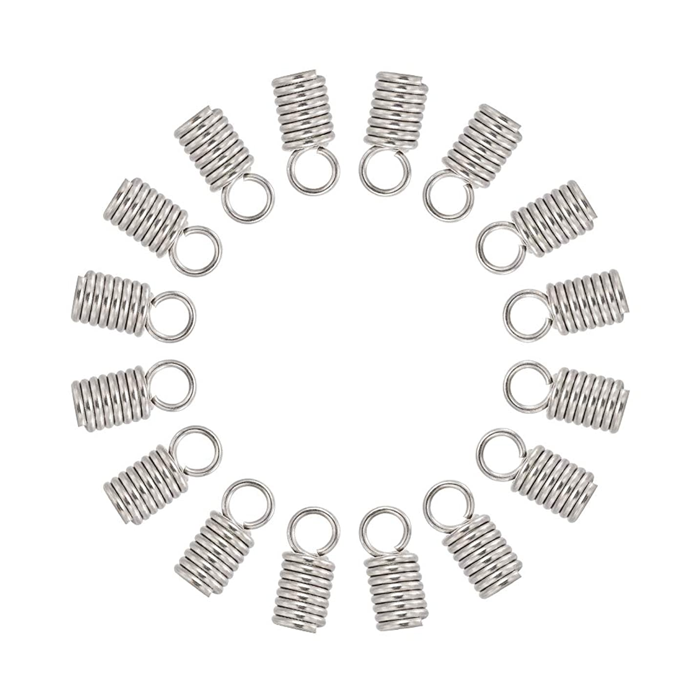 Pandahall 50pcs 304 Stainless Steel Tube Coil Cord Ends Cord Cap Tip Leather Cord Ends Caps Necklace Spring Fastener Crimp Clasp Jewelry Making 11x5mm pdpxbqteekepn420