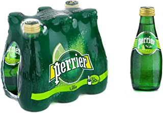 PERRIER Natural Sparkling Water, Lime Flavoured in Glass Bottle - 200ml (Pack of 6)