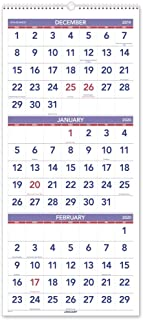 AT-A-GLANCE 2020 Wall Calendar, 3-Month Display, 12