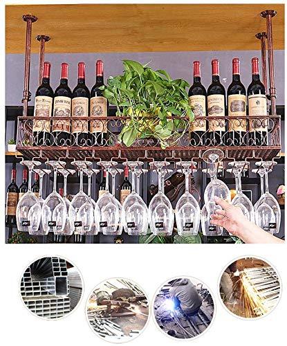 Colgando estante del vino, vino estante de la taza bastidor y el vino taza Baca estante de hierro al revés mueble vaso decorativo estante cocina de un restaurante de barra de bar,60cm/23.62in-Bronze