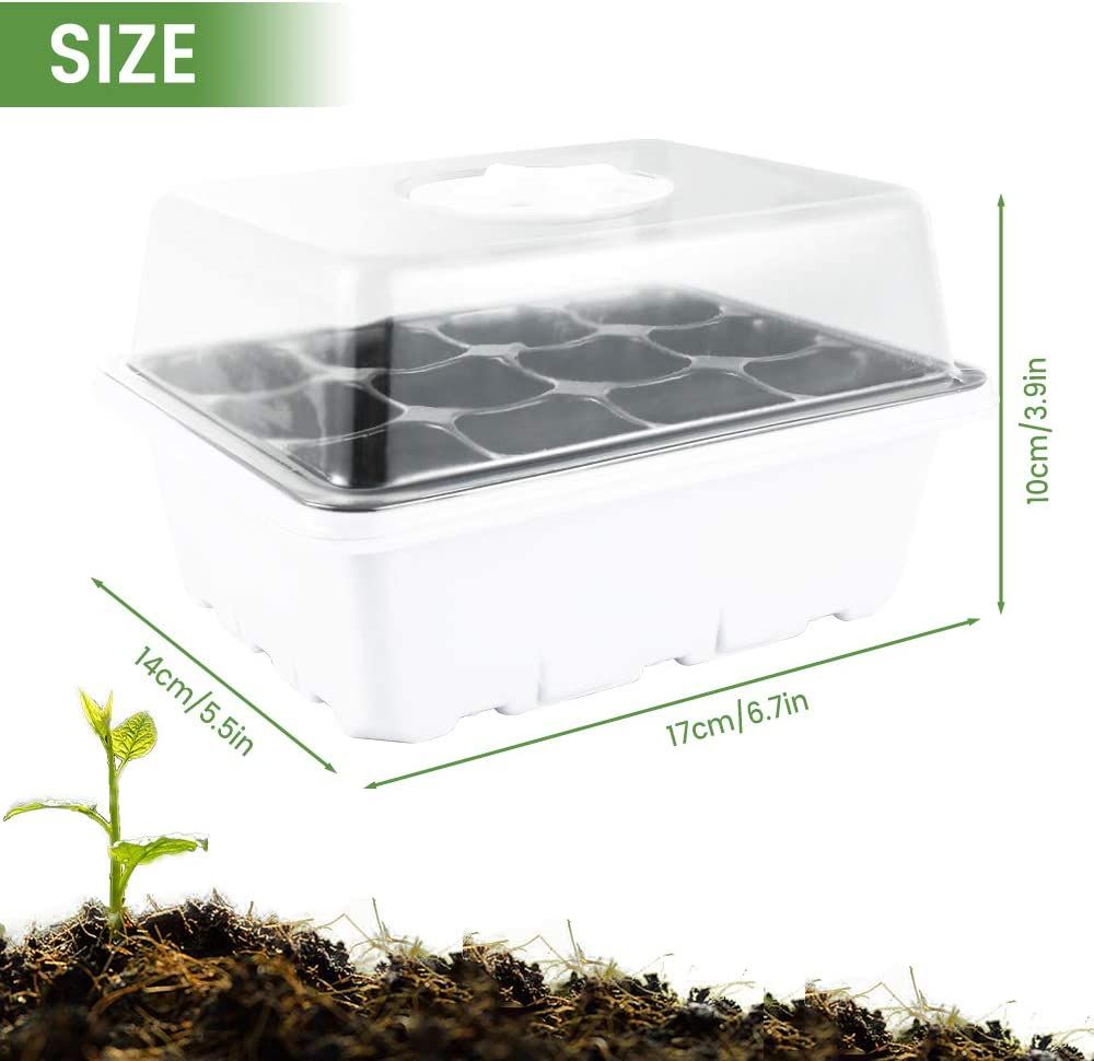 Plant Germination Trays Plant Seed Starter Tray for Seeds Growing Starting Grow Trays Seed Starter Tray 12 Holes, 5pcs Seed Starter Trays Seed Starter Tray Kit