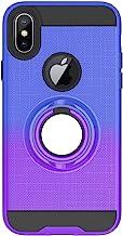 FAWUMAN Funda para iPhone X/iPhone XS Soft TPU + Duro PC Doble Parachoques Cubierta con a Anillo Soporte,Diseño Antideslizante de Red de Pesca 3D(Azul-Violeta)