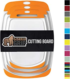 Gorilla Grip Original Oversized Cutting Board, 3 Piece, BPA Free, Juice Grooves, Larger Thicker Boards, Easy Grip Handle, Dishwasher Safe, Non Porous, X Large, Kitchen, Set of 3, Orange White
