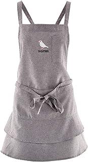 [X-CLOTHES] エプロン カフェエプロン ワンポイント ロゴ 撥水加工 無地 プリーツ 刺繍 グッズ 作業着 レディース