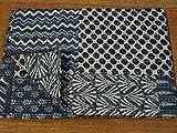 Sophia-Art Handgefertigter Bettbezug mit Blockdruck, für Doppelbett, blau, Indigo, Kantha-Steppdecke, indischer Kantha-Steppdecke, Patchwork, Kantha-Bettbezug