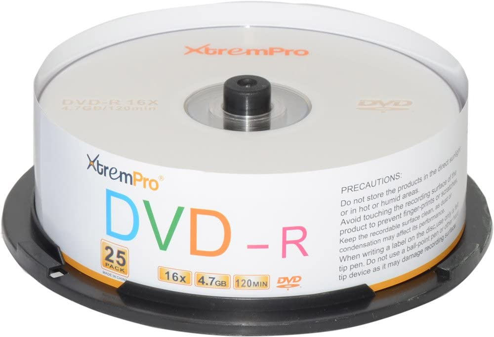 XtremPro DVD-R 16X Free shipping anywhere Denver Mall in the nation 4.7GB 120Min DVD Spind Blank Discs Pack 25