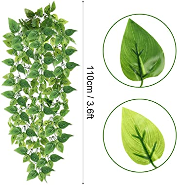 HATOKU 4pcs Artificial Hanging Plants 3.6FT Fake Ivy Vine Leaves for Home Room Wedding Indoor Outdoor Wall Decor