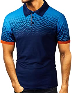 kolila Men's Fashion Short Sleeve Polo T Shirt Fitted Elastic Casual Classic Slim Fit Collar Button Down Cotton Shirts