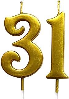 شمعة رقمية لعيد الميلاد رقم 31 من MAGJUCHE Gold 31 شموع تزيين حفلات للنساء والرجال