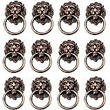 12PCS Cabeza de leon Aldaba, aleación de zinc pomos tiradores de cajón/pomos/asas/para armarios de cocina, armarios, armario, cajón, muebles Hardware, Red bronze