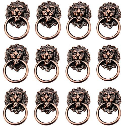 12-pack dörrhandtag skåp skåp låda metall dragring antikt lejon huvud med skruvar, kök dörr låda ring draghandtag knoppar, färg röd brons