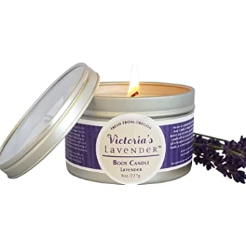 Victoria's Lavender Moisturizing Massage Candle 8 oz (Lavender) | Made in USA