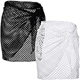 2 Pieces Beach Wrap Sarong Women Hollow Out Knit Skirt Crochet Cover Up Skirts Loose Beach Bikini See Through Swimwear Dresses Swimsuit Cover Ups Swimsuit Wrap Skirts White, Black
