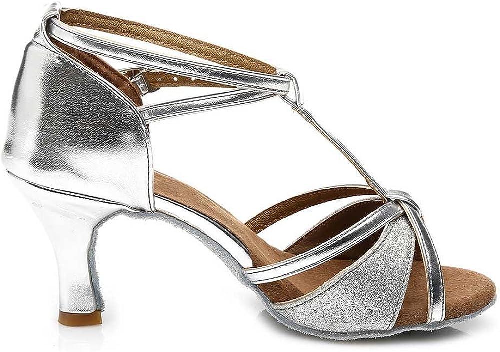 HROYL Women's Glitter Dance Shoes Latin Salsa Ballroom Performance Wedding Party Dance Heels Model US-255