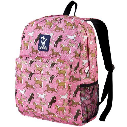 Wildkin 16 Inch Backpack, Durable Backpack with Padded Straps, Front Pocket, Moisture-Resistant Lining, and Two Mesh Side Pockets, Perfect for School or Travel – Horses in Pink by Wildkin