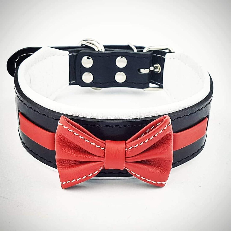 Bestia  Bowtie genuine leather dog collar. Studded. Soft padded