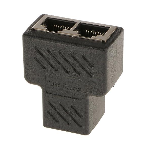Magideal 1 to 2 Port RJ45 LAN Ethernet Network Connector Splitter Adapter Plug