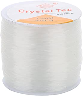 HOMYL 1 Roll 80 Meter 1mm Strong & Stretchy Cord Clear Crystal Elastic Thread Beading String for Craft Bracelet Necklace Making
