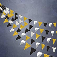 Gold and Black Triangle Vintage Flag Garland Banner kit for Party Decoration/Pennant Hanging Garlands Banner for Graduation/Wedding/30 Milestone Birthday/Anniversary Decorations/Silver/39ft/104flags