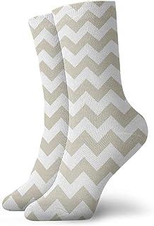 Calcetines deportivos de color beige y blanco con patrón Chevron para correr, calcetines gruesos de entrenamiento para todas las estaciones para hombre y mujer